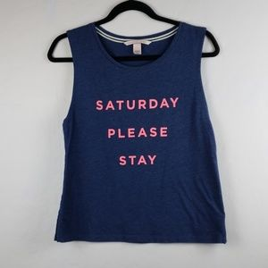 VICTORIA SECRET Navy and Hot Pink Graphic Top